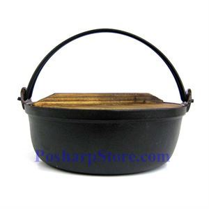 Picture of Cast Iron Nabe Pot  9.5 Inch  w/ Wooden Lid  & Base