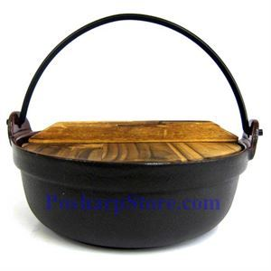 Picture of Cast Iron Nabe Pot  8.25 Inch  w/ Wooden Lid  & Base