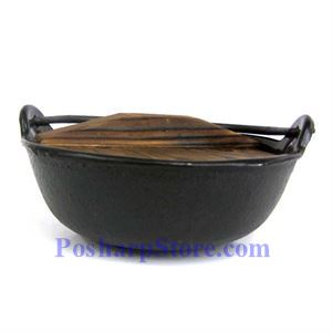 Picture of Cast Iron Nabe Pot  6.5 Inch  w/ Wooden Lid  & Base