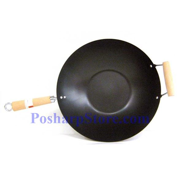 "Picture for category Myland 14"" Double Wood Handle Flat Bottom Non-Stick Wok"