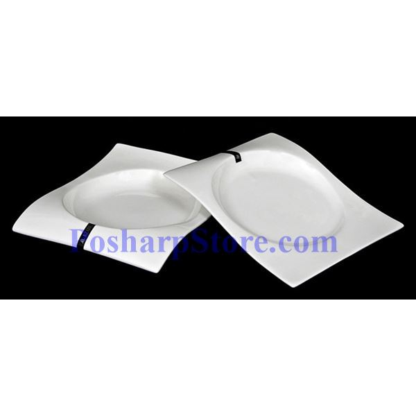 Picture for category White Waved Rectangle Porcelain Plate PHP-A4386