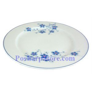 Picture of Cheng's White Jade Porcelain 9-Inch Blue Plum Rim Edged Plate