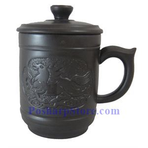Picture of Horse Purple Clay Mug with Lid
