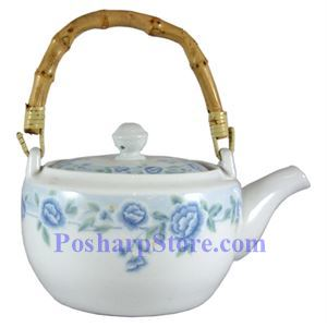 Picture of Cheng's Blue Peony Porcelain Teapot with Wooden Handle