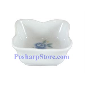 Picture of Cheng's Blue Peony Porcelain Square Saucer With Lotus Edge