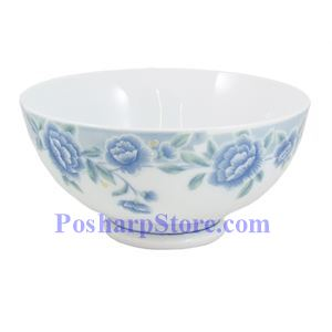 Picture of Cheng's White Jade Porcelain 4.5-Inch Blue Peony Rice Bowl