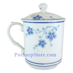 Picture of Cheng's Porcelain Blue Plum Blossom Cylindrical Teacup With Lid
