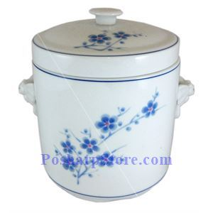 Picture of Cheng's White Jade Porcelain Blue Plum Blossom 4-Inch Ginseng Jar