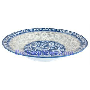 Picture of Cheng's White Jade Porcelain 9-Inch RakeWave Peony Rim Edge Soup Plate