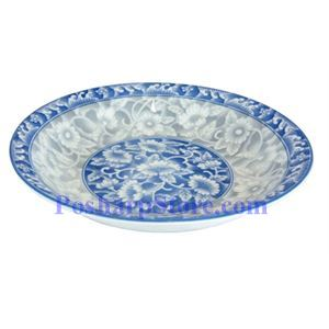 Picture of Cheng's White Jade Porcelain 7-Inch Rake Wave Peony Soup Plate