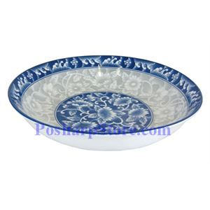 Picture of Cheng's White Jade Porcelain 8-Inch Rake Wave Peony Rice/Pasta Plate