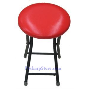 Picture of Clothe Covered Round Folding Stools with Red Color