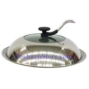 Picture of 14 Inch Glass Centered Stainless Steel  Wok Cover with Lid Handle