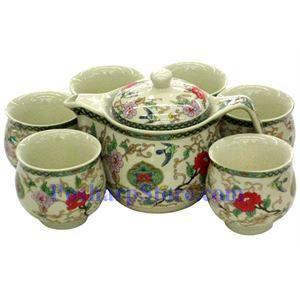 图片 陶瓷双色牡丹茶壶茶杯套装