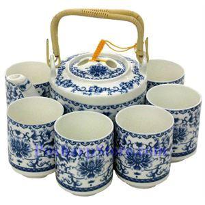 Picture of Ceramic Blue Flower Teapot Set