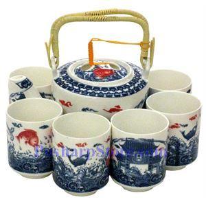 Picture of Ceramic Blue Carp Teapot Set