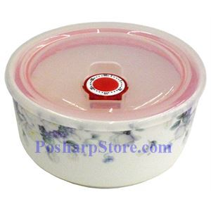 Picture of Porcelain 5-Inch Purple Flower Bowl with Cover