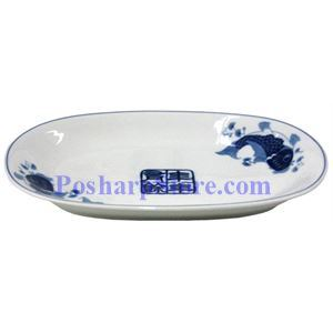 Picture of Porcelain 11-Inch Blue Fish Rectangle Plate