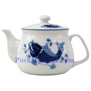 Picture of Porcelain 3-Inch Blue Fish Teapot