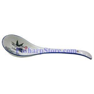 Picture of Porcelain 10-Inch Chinese Rice Spoon with Crane Image