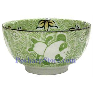 Picture of Japanese 5-Inch Green Panda Porcelain Rice Bowl