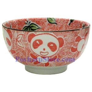 Picture of Japanese 5-Inch Red Panda Porcelain Rice Bowl