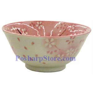 Picture of Japanese 6-Inch Pink Plum Blossom Porcelain Rice Bowl