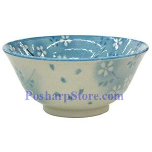 Picture of Japanese 6-Inch Blue Plum Blossom Porcelain Rice Bowl
