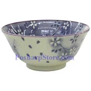 Picture of Japanese 6-Inch Purple Plum Blossom Porcelain Rice Bowl