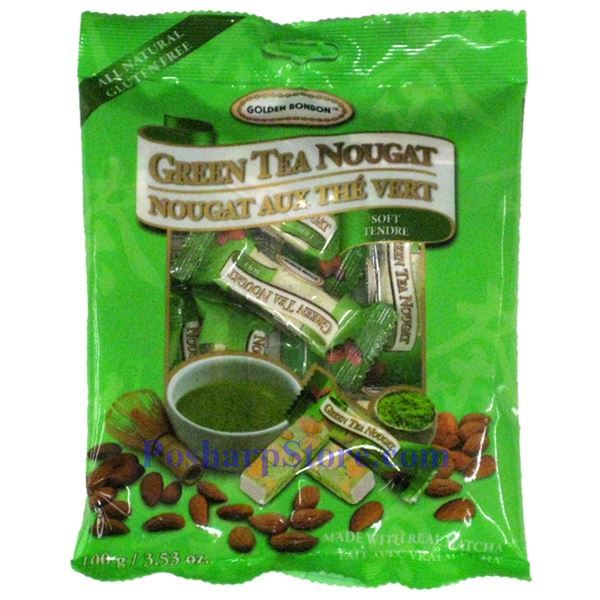 Golden bonbon soft matcha green tea almond nougat candy 3 5 oz