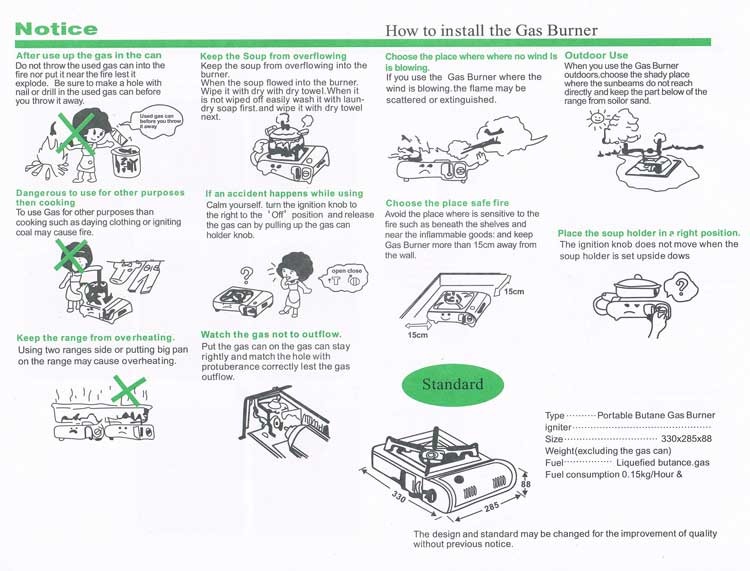 Instruction for Happy Home Portable Butane Gas Stove/Cooker BDZ-155-A, Part II