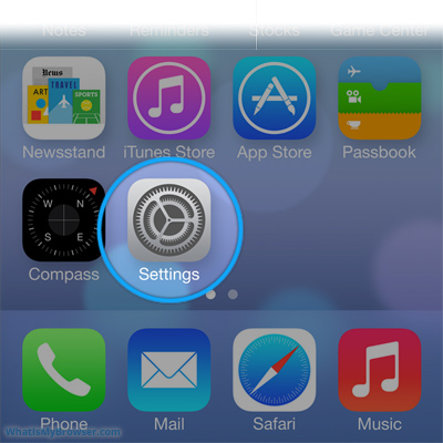 Screenshot showing the Settings icon on the Home screen