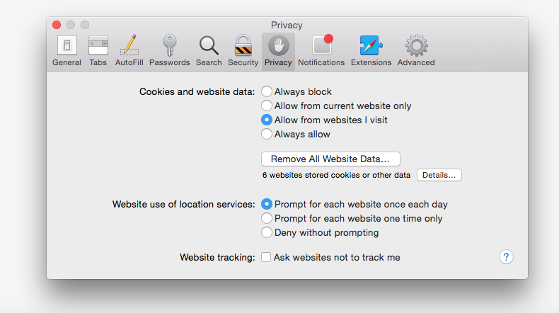 Safari Preference Privacy