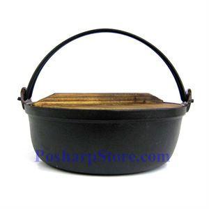 图片 日式铸铁火锅、9.5英寸,木锅盖,木锅垫