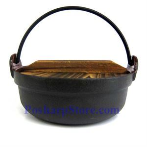 Picture of Cast Iron Nabe Pot  7 Inch  w/ Wooden Lid  & Base