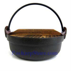 图片 日式铸铁火锅、7 英寸,木锅盖,木锅垫