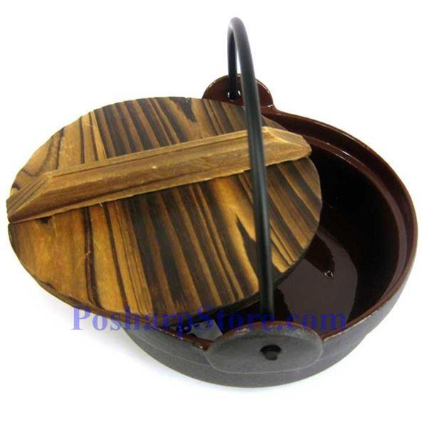 分类图片 日式铸铁火锅、7 英寸,木锅盖,木锅垫