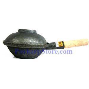 图片 木柄生铁火锅,7英寸,铁盖