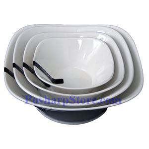 Picture of White Round Rhombus Porcelain Bowls PHP-B001-35