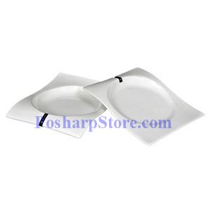 Picture of White Waved Rectangle Porcelain Plate PHP-A4386