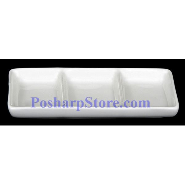 Picture for category White Divided Rectangle Porcelain Saucer PHP-A0226
