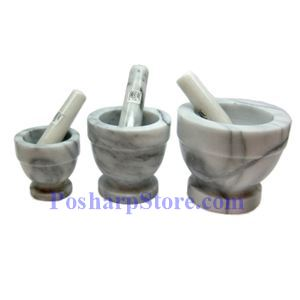 "Picture of 3"" Marble Mortar and Pestle"