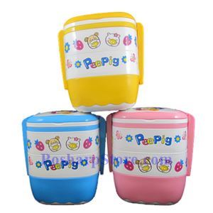Picture of PeePig Square Shaped Triple Stock Lunch Box