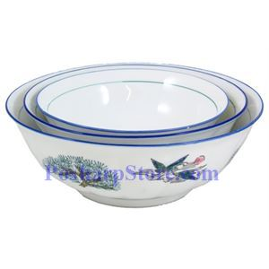 Picture of Surface-Waved Pine Crane Porcelain  Bowl