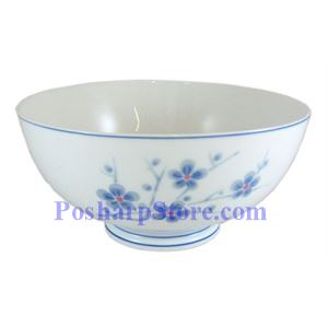 Picture of Cheng's White Jade Porcelain 6-Inch Blue Plum Blossom Bowl