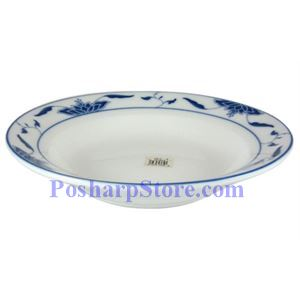 Picture of CAC Durable China Blue Lotus 8-Inch Soup Plate