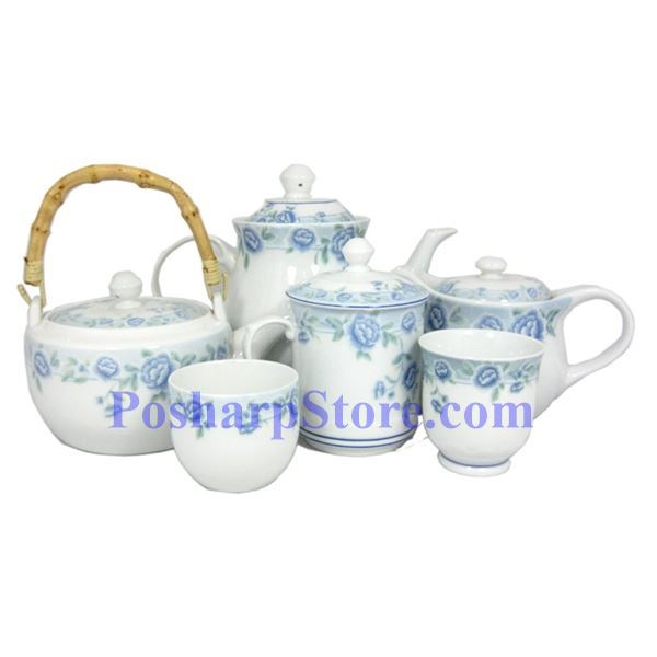 Picture for category Cheng's Blue Peony Porcelain Teapot with Wooden Handle