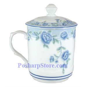Picture of Cheng's Blue Peony Porcelain Cylindrical Teacup With Lid