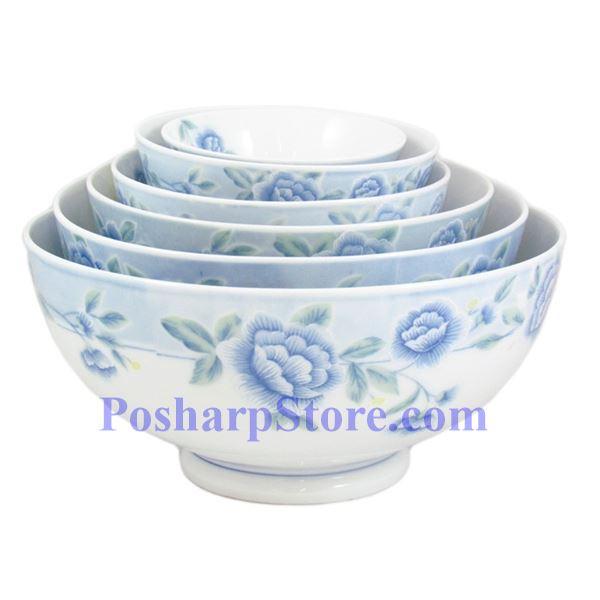 分类图片 Cheng氏白色陶瓷蓝牡丹七吋直口汤碗