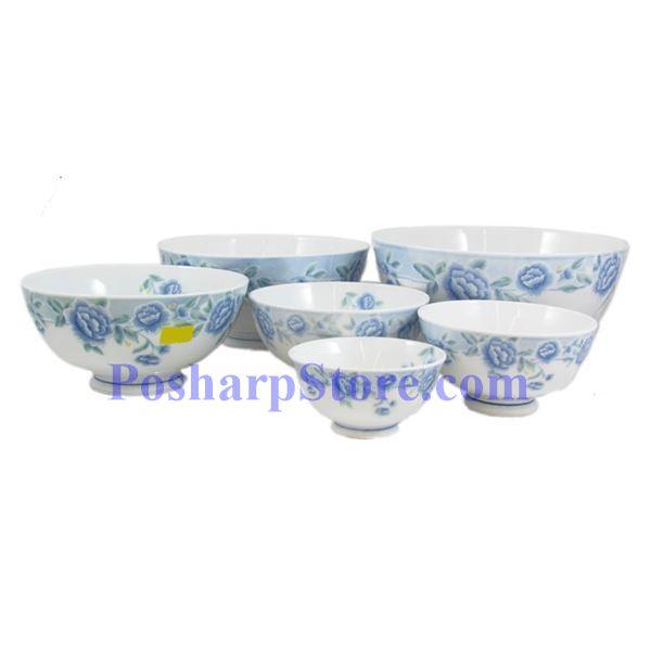 分类图片 Cheng氏白色陶瓷蓝牡丹4.5吋直口饭碗